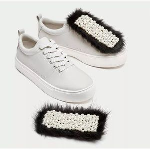Zara white sneaker with faux fur & pearls details